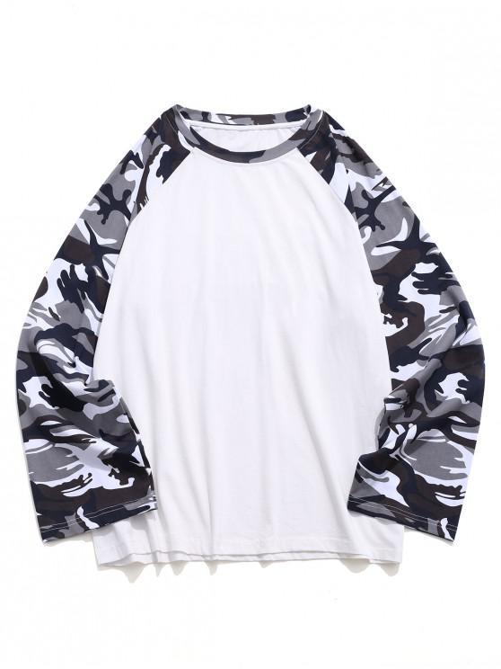 ZAFUL T-shirt de Baseball Décontracté Camouflage à Manches Longues - Blanc M