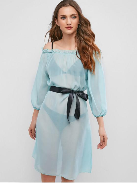 outfit Semi Sheer Frilled Off The Shoulder Cover-up Dress - AQUAMARINE XL