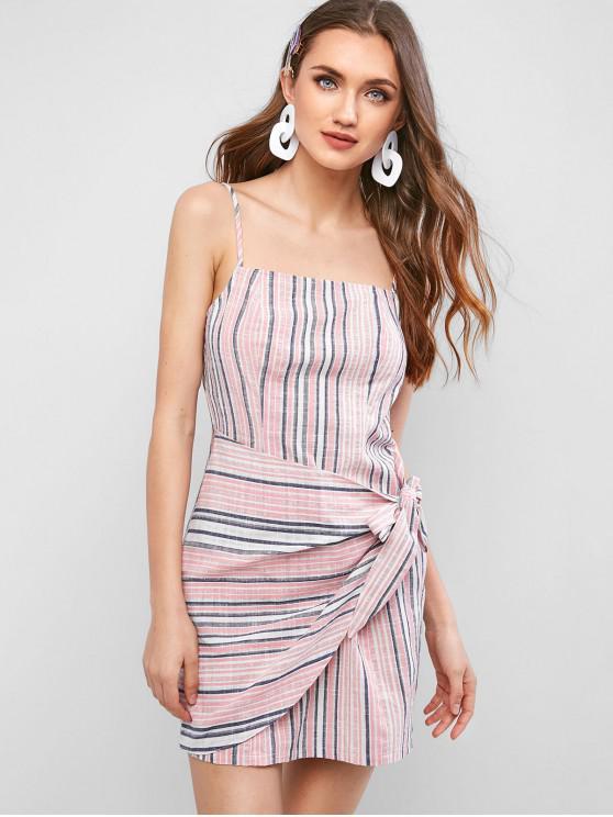 hot ZAFUL Striped Asymmetrical Tie Front Mini Cami Dress - PIG PINK M