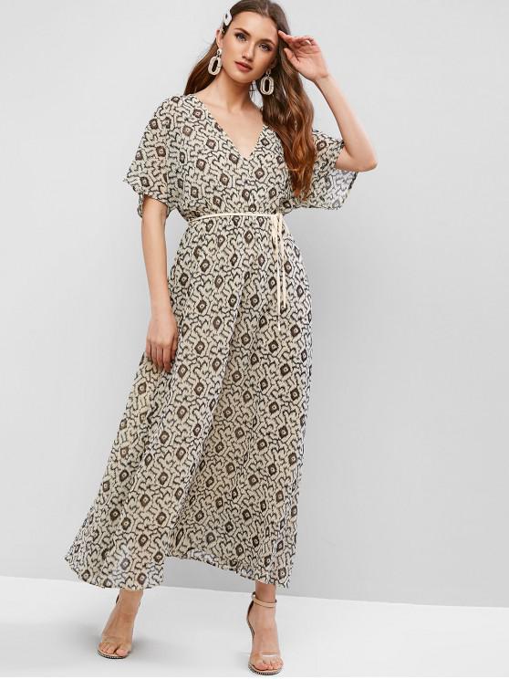 shops ZAFUL Shiny Printed Kimono Maxi Dress - BEIGE S