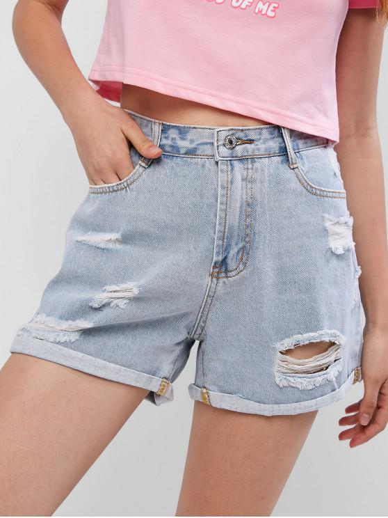 affordable Ripped Rolled Pocket Denim Shorts - JEANS BLUE XL