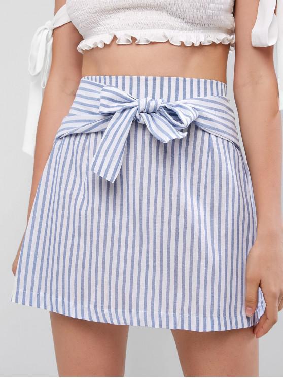 best High Waist Striped Knotted A Line Skirt - LIGHT BLUE S