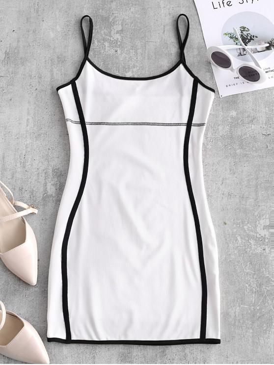 خياطة bodycon قارع الأجراس اللباس - أبيض M