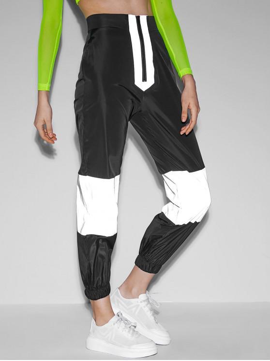 Calças de Jogging com Blusão de Contraste Zip Frontal - Preto L