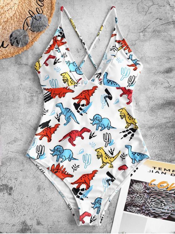 buy ZAFUL Crisscross Dinosaur Print One-piece Swimsuit - WHITE XL