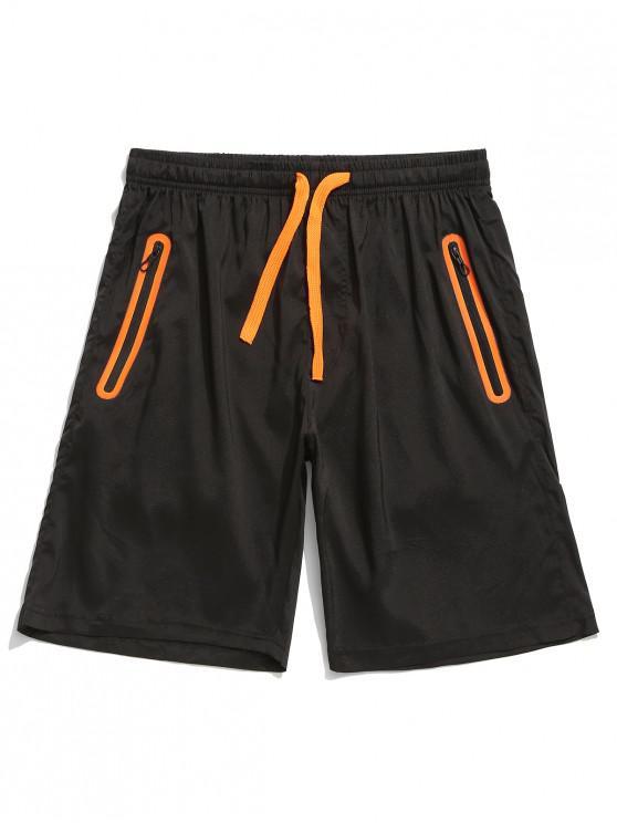 Pantalones cortos de bolsillo con cremallera y panel de bloques de color - Naranja Brillante S