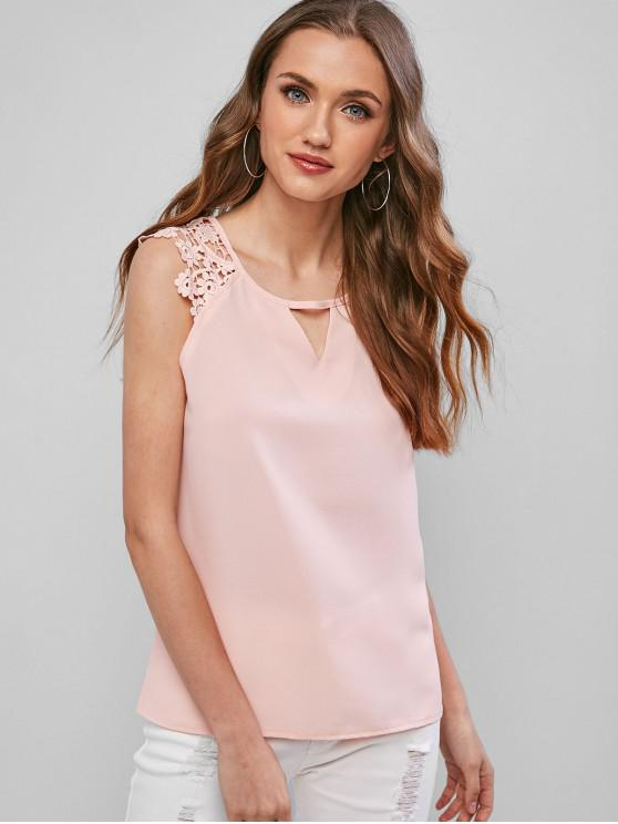 outfits Cut Out Crochet Panel Casual Tank Top - PINK S