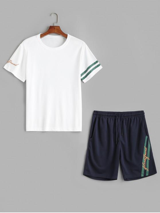 Conjunto de camiseta y pantalones cortos con estampado de rayas de letras - Blanco 2XL