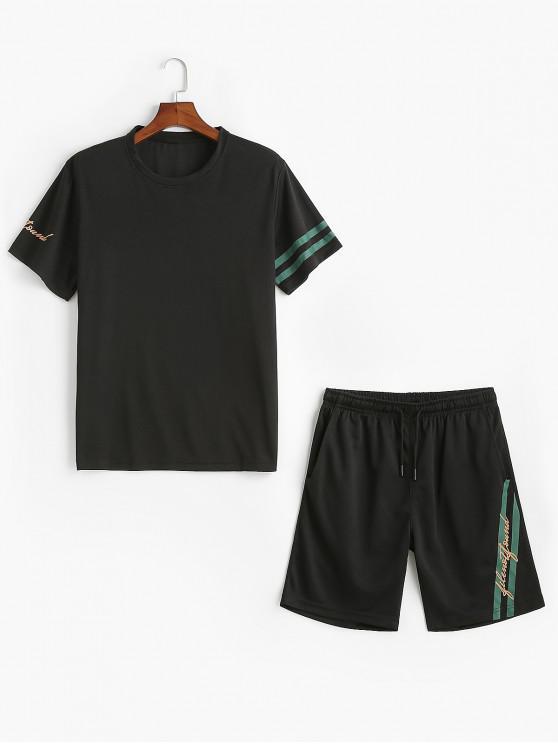 Conjunto de camiseta y pantalones cortos con estampado de rayas de letras - Negro 2XL