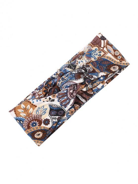 Bandeau à motif floral et motif paisley à nœud bohème - Café