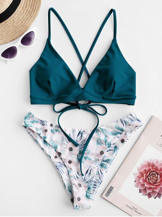 shops ZAFUL Criss Cross Floral Padded Bikini Set - PEACOCK BLUE M