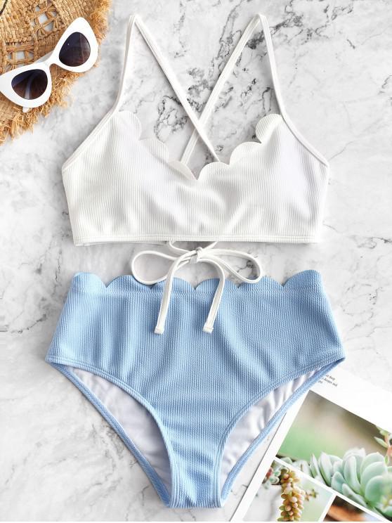 shop ZAFUL Ribbed Scalloped Color Block Bikini Set - WHITE L