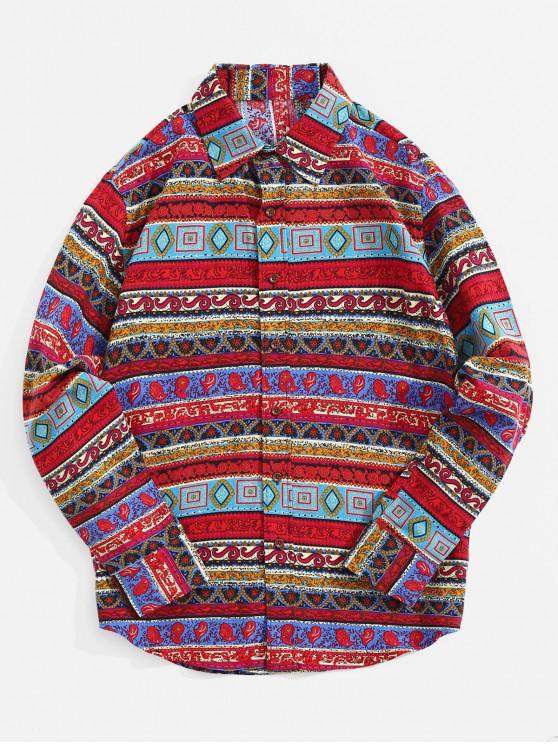 Camicia a maniche lunghe con stampa floreale tribale geometrica Paisley - Multi Colori-F 2XL