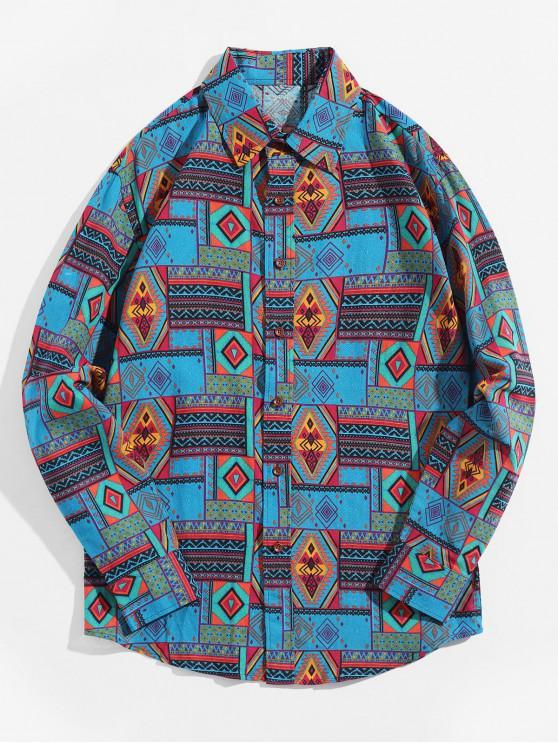 Camicia casual a bottone geometrico stampa tribale etnico - Blu Mirtillo XS