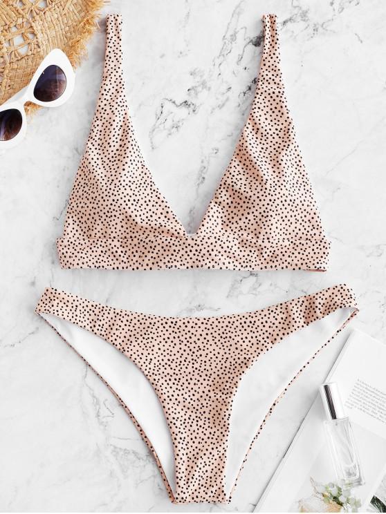 hot ZAFUL Polka Dot Tie Back Bikini Set - DEEP PEACH S