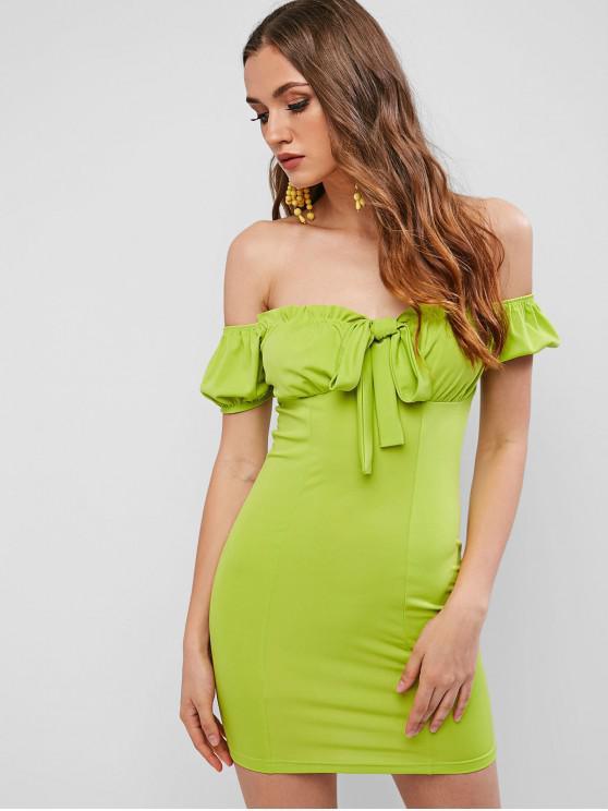 Vestito aderente annodato con spalle arricciate - Verde Insalata  M