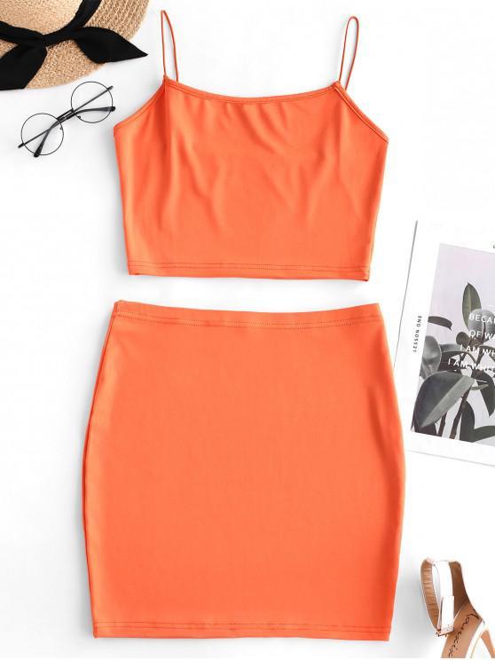 outfits Crop Cami Top and Sheath Skirt Set - PUMPKIN ORANGE S