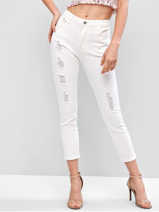 ladies Ninth Distressed Skinny Jeans - WHITE XL