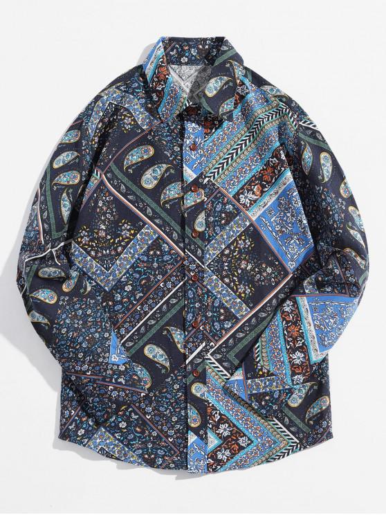 Paisley Ditsy Tribal Tribal Imprimir Camisa Casual - Azul cobalto XS