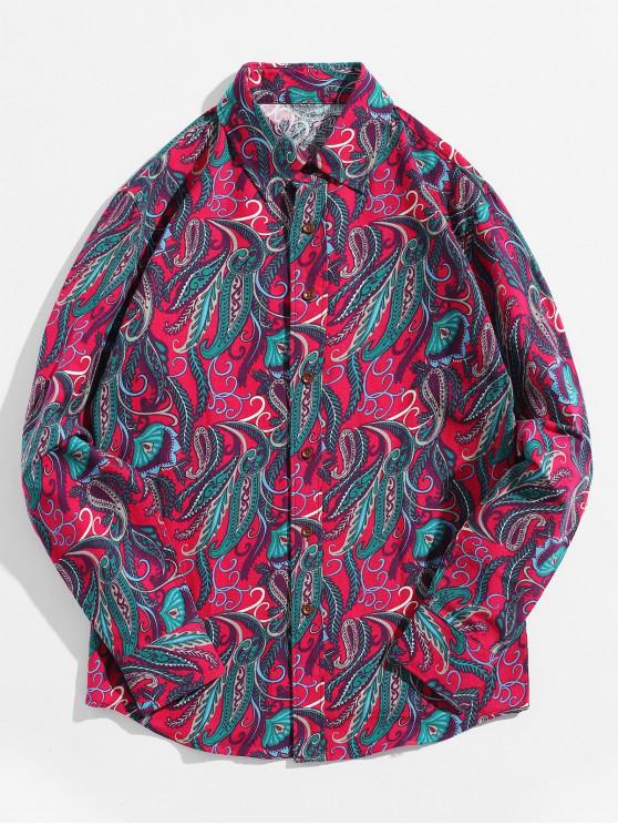 Camicia a maniche lunghe con stampa etnica tribale a foglie di paisley - Rosso Roseo L