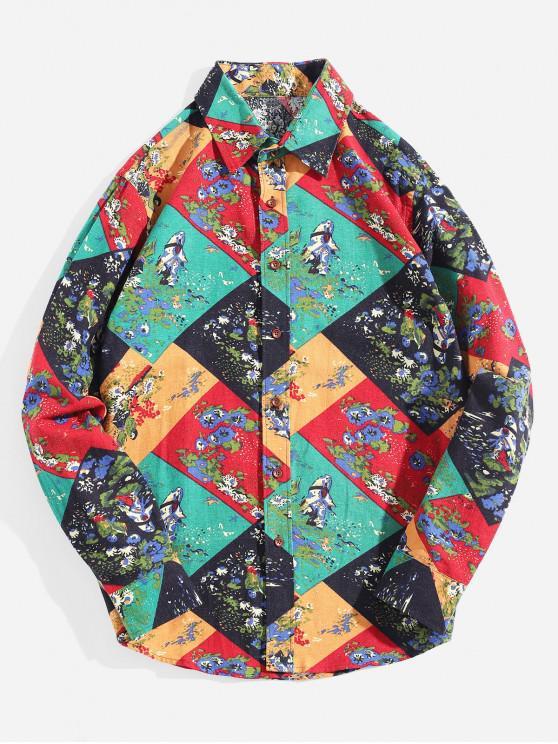 Camicia con bottoni stampa geometrica a blocchi di colore - Multi Colori-B XS