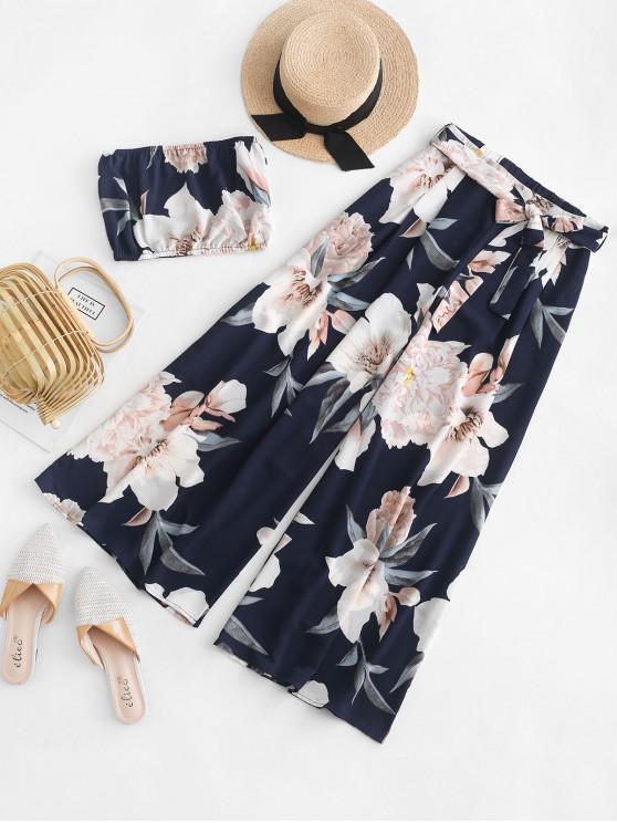 unique Floral Bandeau Top And Wide Leg Pants Set - DARK SLATE BLUE M