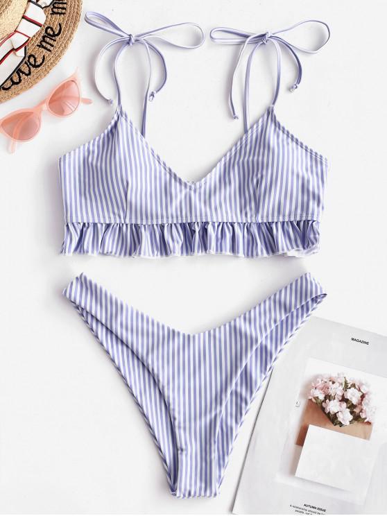 shop ZAFUL Striped Tie Ruffle High Leg Bikini Swimsuit - POWDER BLUE L