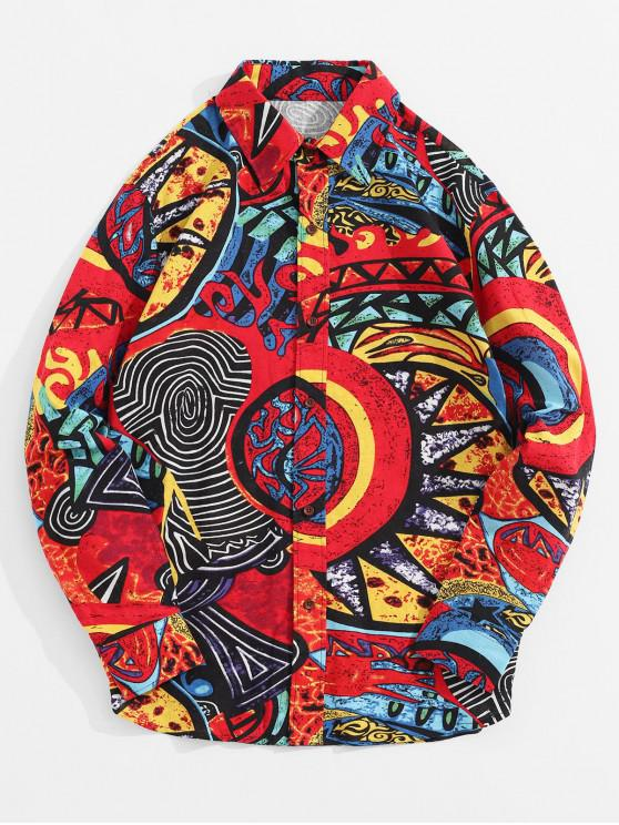 online Ethnic Tribal Colorful Painting Print Casual Button Shirt - MULTI-C 2XL