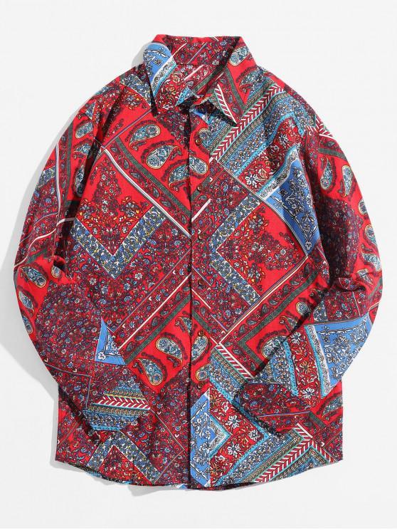 chic Paisley Ditsy Geometric Tribal Print Casual Shirt - RED WINE XL