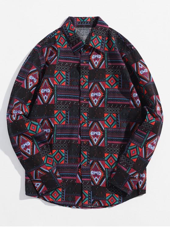 fancy Ethnic Tribal Geometric Print Button Casual Shirt - JET BLACK 2XL