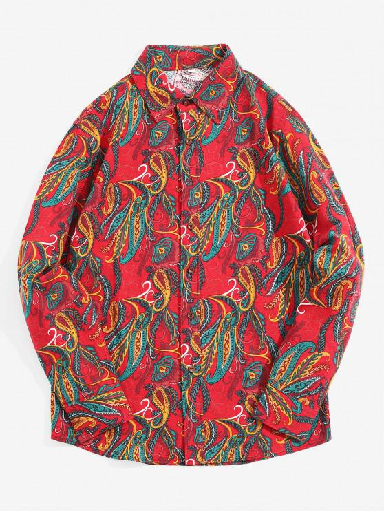 unique Ethnic Tribal Leaf Paisley Print Long Sleeves Shirt - LAVA RED S