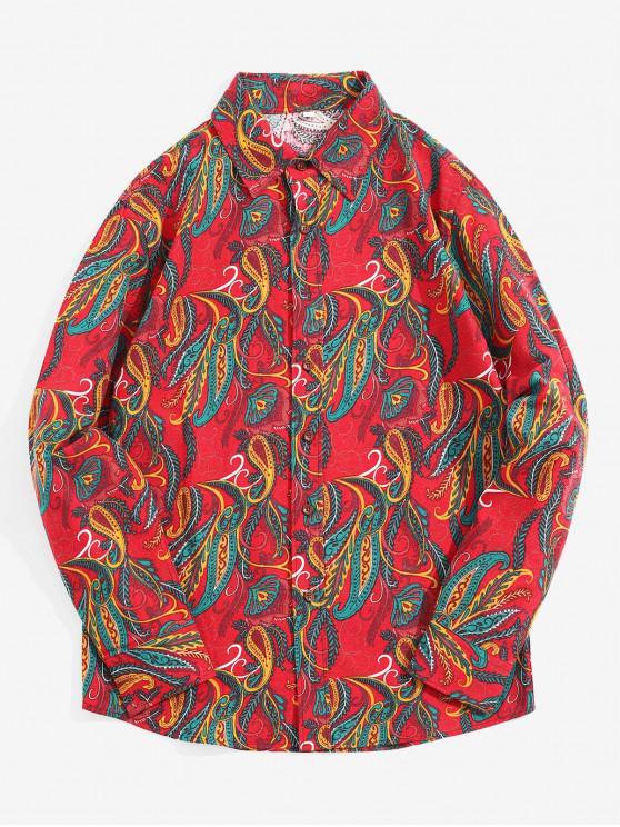 القبلية ورقة العرقية بيزلي طباعة قميص طويل الأكمام - الحمم الحمراء XL