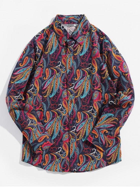 unique Ethnic Tribal Leaf Paisley Print Long Sleeves Shirt - DENIM DARK BLUE 2XL