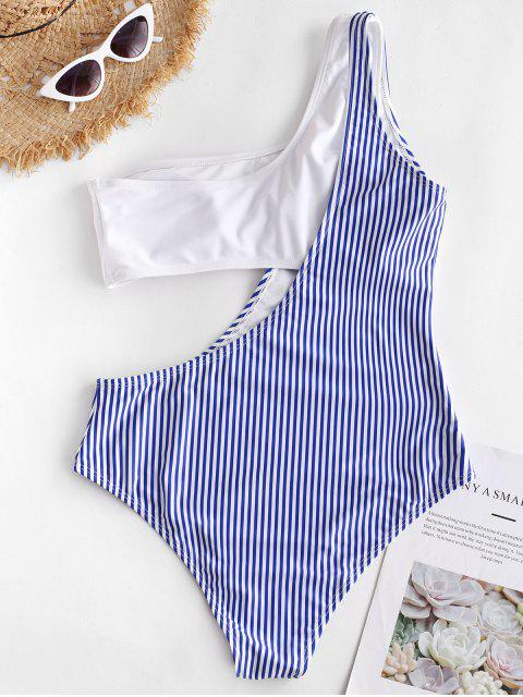 outfit ZAFUL Striped Cutout One Shoulder One-piece Swimsuit - BLUEBERRY BLUE XL Mobile