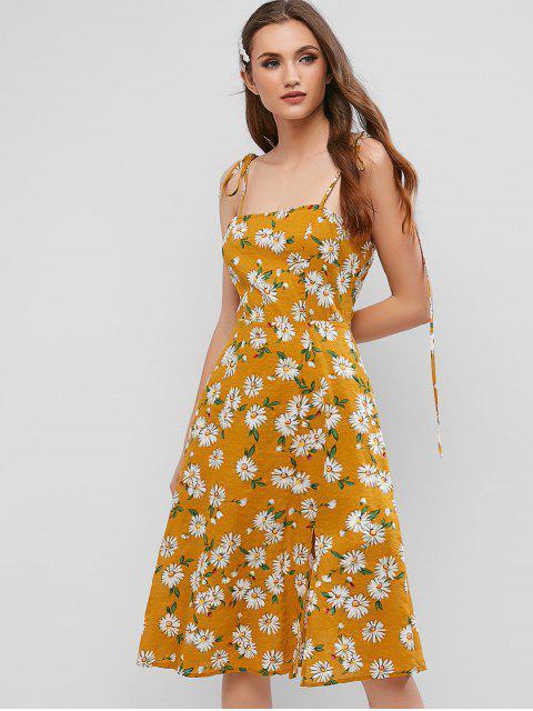 ZAFUL Robe Fendue Fleurie à Epaule Nouée à Volants - Orange d'Or L Mobile