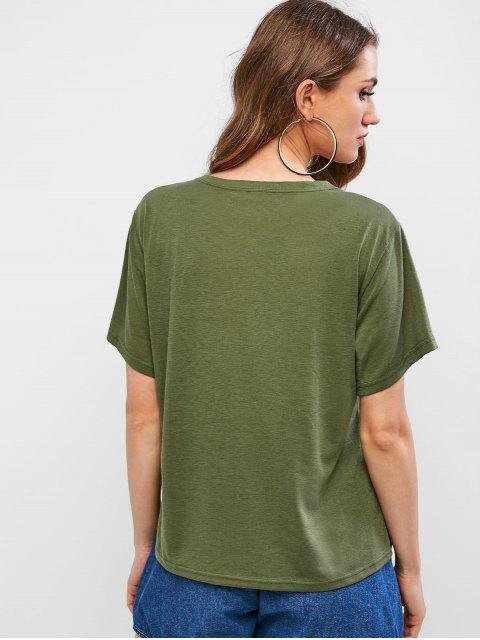 ladies Retro Car Graphic Tee - ARMY GREEN M Mobile