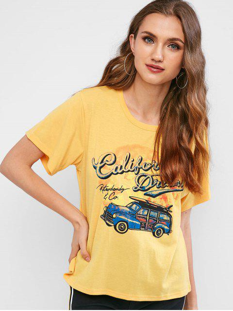 buy Retro Car Graphic Tee - BEE YELLOW S Mobile