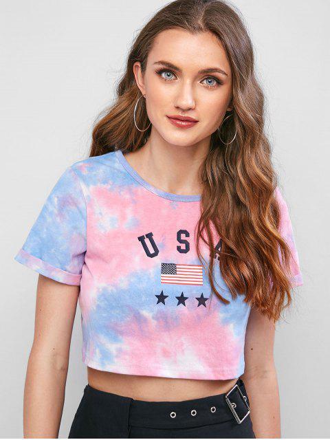 ladies ZAFUL American Flag Tie Dye Crop Tee - MULTI XL Mobile