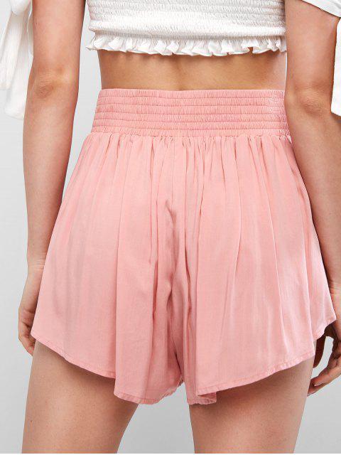 fancy ZAFUL Overlay Tie Waist Mini Shorts - PINK ROSE M Mobile