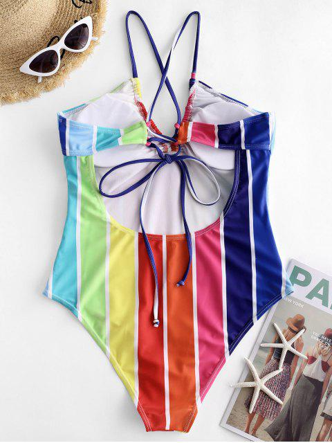 lady ZAFUL Colorful Striped Criss Cross One-piece Swimsuit - MULTI-A S Mobile