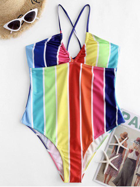 ZAFUL Красочный полосатый принт Перекрестные шнурки Слитный Купальник - Многоцветный-A L Mobile