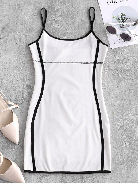 shops Stitching Bodycon Ringer Cami Dress - WHITE L Mobile
