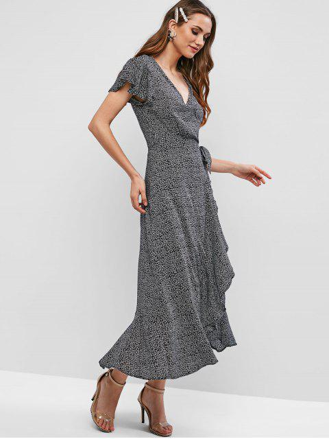 women V Neck Tiny Floral Maxi Wrap Dress - BLACK M Mobile