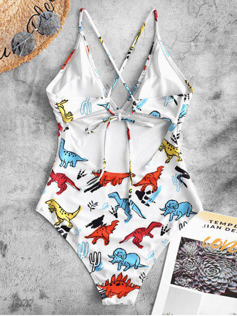women ZAFUL Crisscross Dinosaur Print One-piece Swimsuit - WHITE M Mobile