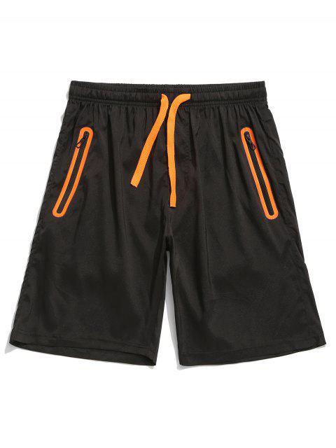 Short Panneau Zippé avec Poche en Blocs de Couleurs - Orange vif L Mobile