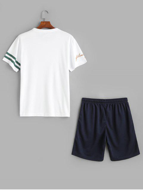 Ensemble t-shirt et short à manches courtes et à rayures - Blanc 2XL Mobile
