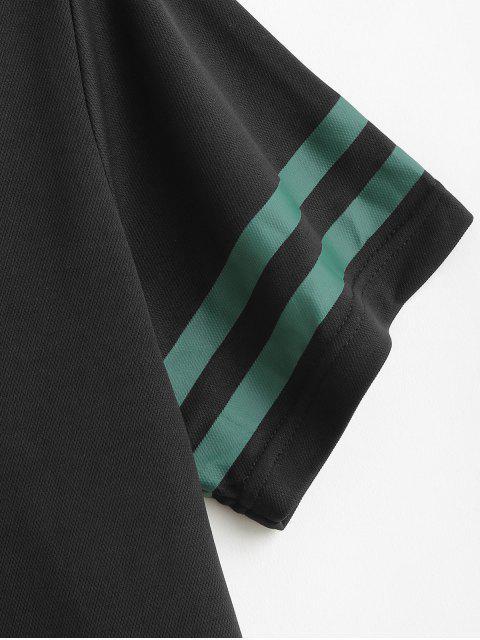 Ensemble t-shirt et short à manches courtes et à rayures - Noir 2XL Mobile