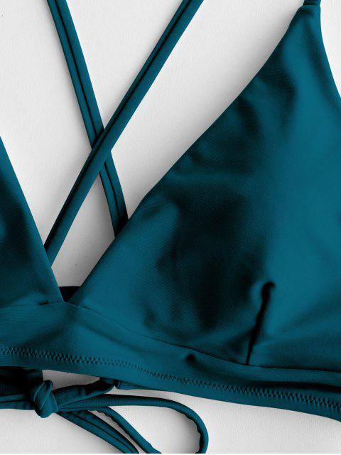 ZAFUL Перекрестные шнурки С чашками Цветочный принт Бикини в сборе - Павлиний синий S Mobile