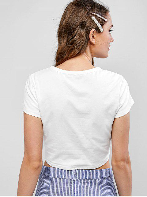 shops ZAFUL Tie Front Orange Graphic Cropped Tee - WHITE S Mobile