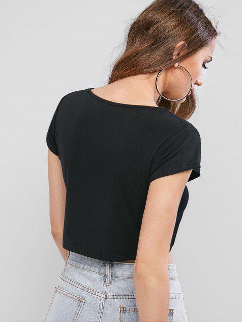 T-shirt graphique de base à lettre recadrée - Noir S Mobile